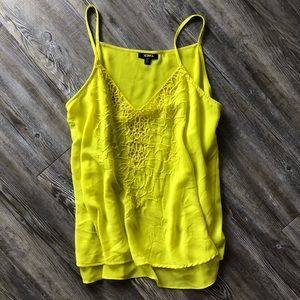 Bright yellow embroidered tank